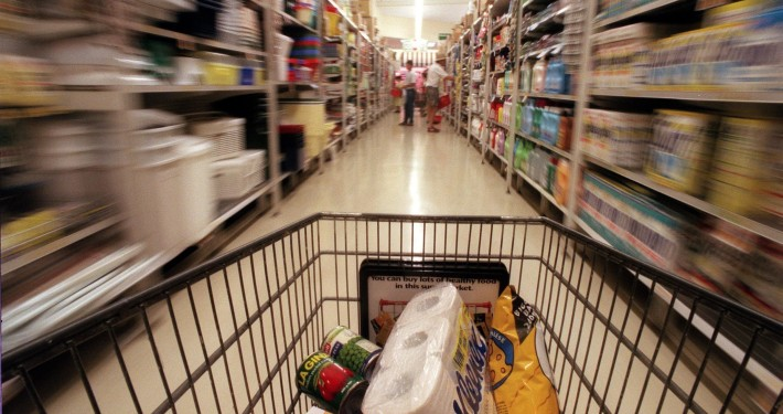 Trolley in supermarket, exact date unknown. SMH picture by NICK MOIR