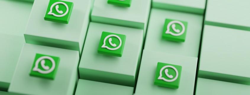 WhatsApp Logo on Cubes. Social Media Background 3D Rendering